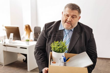 Devastated fired employee being emotional