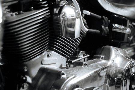 Old school motorcycle standing in garage