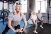 Cheerful nice women visiting aerobic classes