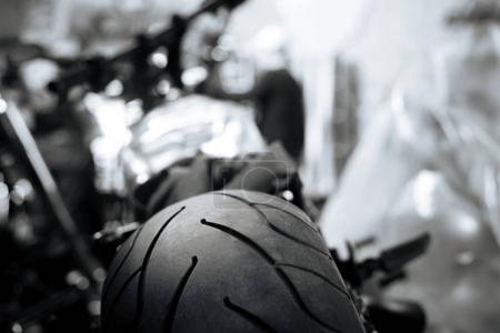 Close up picture of a motorcycle tire