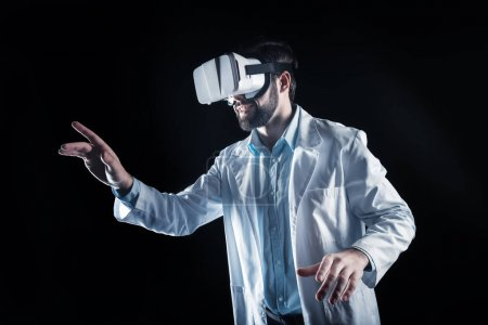Positive happy scientist working in 3d reality