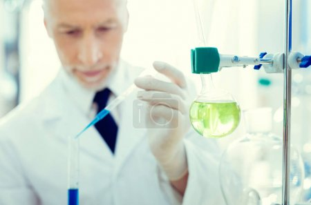 Close up of chemical glassware in laboratory