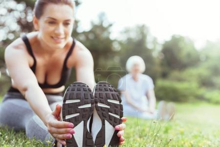 Selective focus of female feet