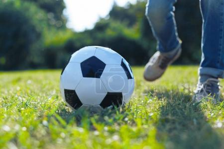 Close up of ball lying in grass