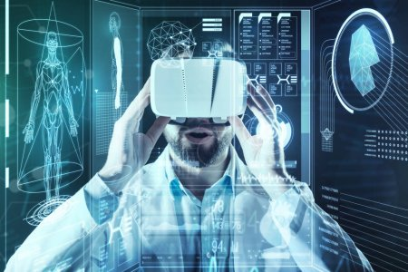 Bearded doctor feeling impressed while wearing virtual reality glasses