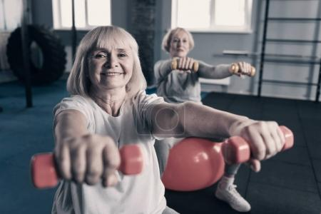 Charming women working out with dumbbells in gym