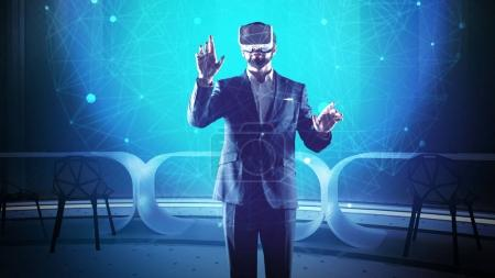 Attentive man in virtual reality glasses looking at the screen and thinking