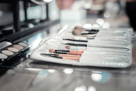Close up of makeup brushes