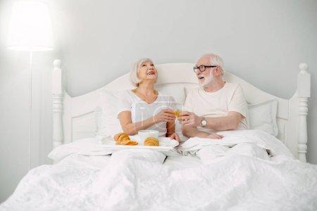 Happy elderly couple enjoying breakfast
