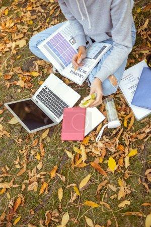 Foto de Relajada mujer cruzando las piernas mientras se sienta frente a su ordenador en la hierba. - Imagen libre de derechos