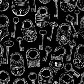Vector pattern of the sketches of the different padlocks and keys