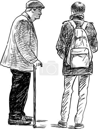 Illustration pour Dessin vectoriel d'un homme âgé parlant avec un jeune homme . - image libre de droit