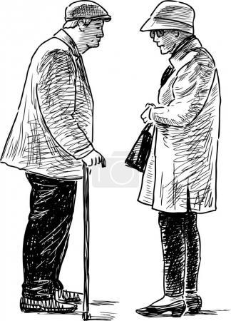 Illustration pour Les personnes âgées ont une conversation . - image libre de droit