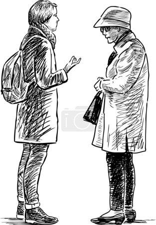 Illustration pour Dessin vectoriel d'une grand-mère parle avec sa petite-fille . - image libre de droit