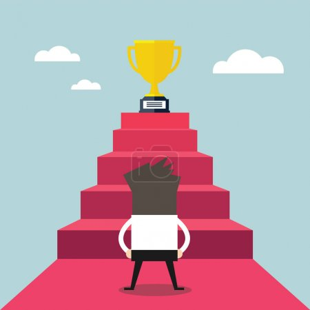 Businessman standing in front of stair that leads the trophy, Shortcut to success.