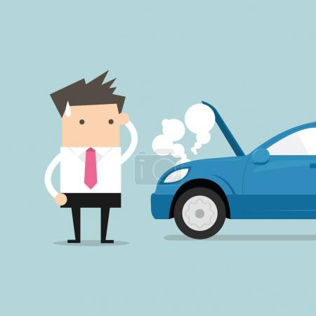 Illustration for Businessman have a force majeure, a car broke down. - Royalty Free Image