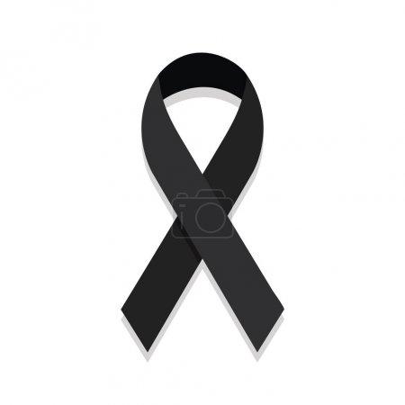 Illustration for Black ribbon mourning sign. - Royalty Free Image