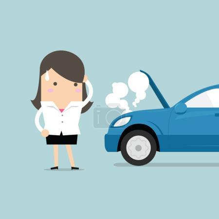 Illustration for Businesswoman have a force majeure, a car broke down. vector - Royalty Free Image