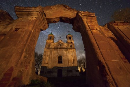Old church under stars