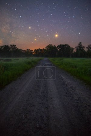 Stars Shining in sky at night over road