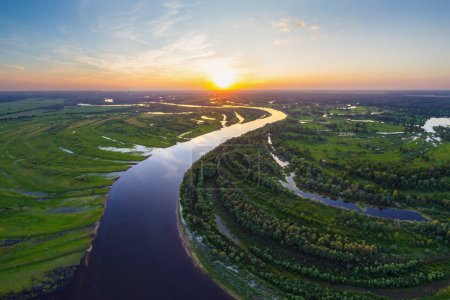Belarusian river at sunset