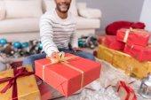 Selective focus of a Christmas present