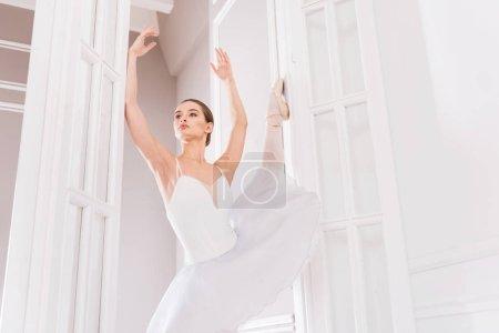 Professional ballerina holding arms upwards