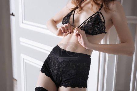 panties and bra wearing on woman