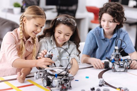 Positive children enjoying science