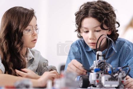 Ingenious kids creating robot at school