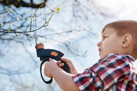 Close up of child pruning fruit trees