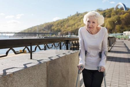 Happy pensioner looking into distance