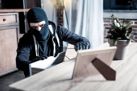 Masked thief stealing money from the table