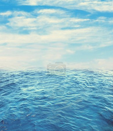 Photo for Clear blue sea with sun in the morning - Royalty Free Image