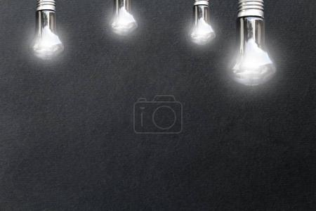 Light bulbs on black