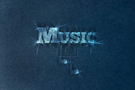 Word Music shining on dark blue background