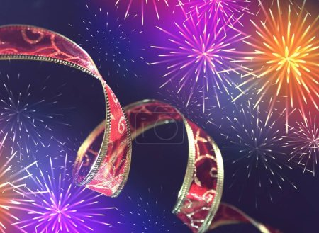Photo for Festive ribbon with shining fireworks - Royalty Free Image