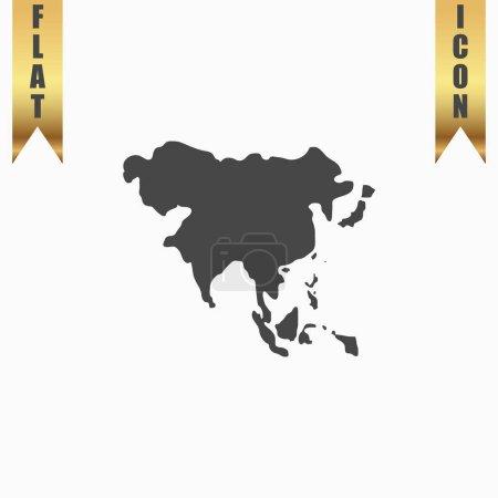 Illustration pour Carte d'Asie. Icône plate. Illustration vectorielle symbole gris sur fond blanc avec ruban or - image libre de droit