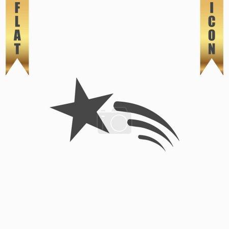 Illustration pour Étoile filante. Icône plate. Illustration vectorielle symbole gris sur fond blanc avec ruban or - image libre de droit