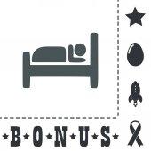 Hotel Simple flat symbol icon on white background Vector illustration pictogram and bonus icons