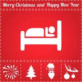 Hostel Icon Vector And bonus symbol for New Year - Santa Claus Christmas Tree Firework Balls on deer antlers