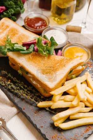 Photo for Sandwiches served with french fries, salad and different sauces - Royalty Free Image