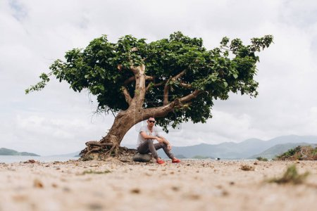 View of man sitting on the beach near tree