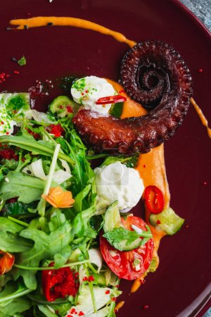 Photo for Salad with octopus, herbs and vegetables - Royalty Free Image