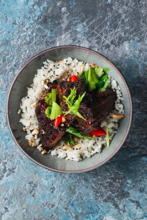 Photo for Fried meat with rice and vegetables - Royalty Free Image