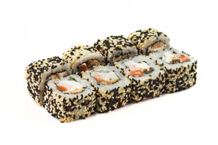 Photo for Japanese traditional dish, sushi rolls sprinkled with toasted sesame seeds - Royalty Free Image