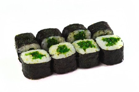 Photo for Original sushi rolls, rice wrapped with nori, salmon and cream cheese inside - Royalty Free Image