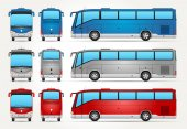 Vector Bus Icon - Front - Rear - Side view