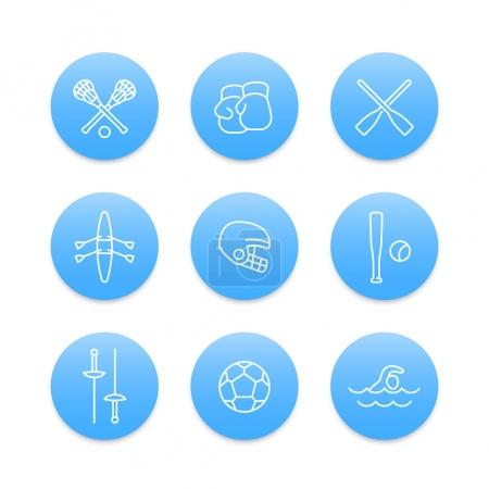 sports and games line icons on blue round shapes