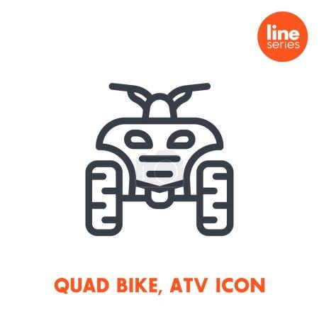 quad bike line icon, all terrain vehicle (ATV), quadricycle sign over white, vector illustration